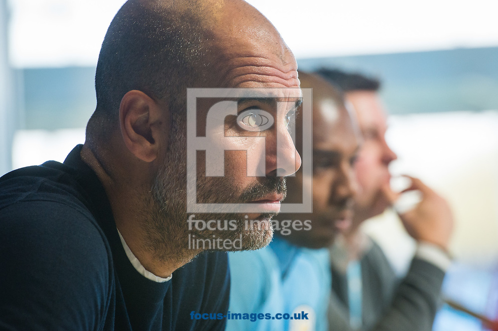 Josep Guardiola during the Manchester City Press Conference at City Football Academy , Manchester<br /> Picture by Matt Wilkinson/Focus Images Ltd 07814 960751<br /> 09/04/2018