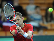 Mariusz Fyrstenberg of Poland competes during the third day the BNP Paribas Davis Cup 2013 between Poland and Slovenia at Hala Stulecia in Wroclaw on February 3, 2013..Photo by: Piotr Hawalej