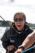 10th August 2011. Cowes. Isle of Wight..Pictures showing Natalie Pinkham onboard Artemis Ocean Racing, skippered by record-breaking yachtswoman Dee Caffari...The Artemis Challenge round the Island race...Aberdeen Asset Management Cowes Week 2011...Credit: Lloyd Images.