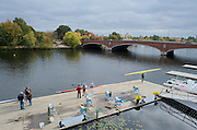 Cambridge. MA. USA. General View from the balcony of the Cambridge Boathouse and the  the Charles River. Eliot Bridge.<br /> <br /> <br />  Thursday  17/10/2013 <br /> <br /> [Mandatory Credit. Peter SPURRIER /Intersport Images]