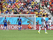 Gianluigi Buffon of Italy is unable to stop Bryan Ruiz of Costa Rica scoring the only goal during the 2014 FIFA World Cup match at Itaipava Arena Pernambuco, Recife metropolitan area<br /> Picture by Stefano Gnech/Focus Images Ltd +39 333 1641678<br /> 20/06/2014