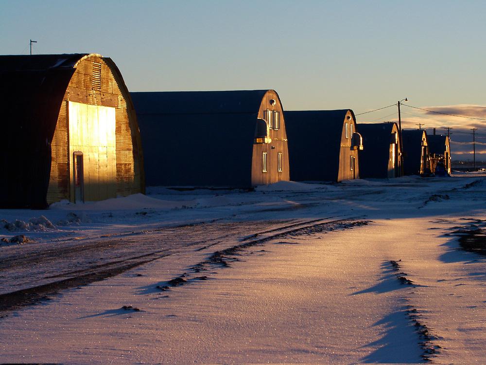 Barrow, Alaska. Quonset Huts used by Ilisagvik College at NARL.
