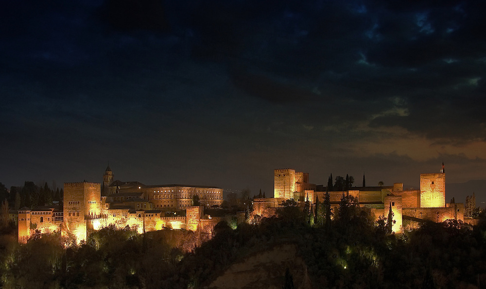 Night view of the Alhambra in Granada, Spain.