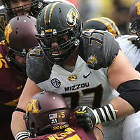 ORLANDO, FL - JANUARY 01:  Evan Boehm #77 of the Missouri Tigers is seen during the Buffalo Wild Wings Citrus Bowl between the Minnesota Golden Gophers and the Missouri Tigers at the Florida Citrus Bowl on January 1, 2015 in Orlando, Florida. (Photo by Alex Menendez/Getty Images) *** Local Caption *** Evan Boehm