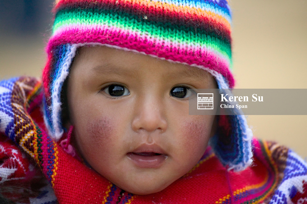 Portrait of an Indian baby, Cuzco, Peru