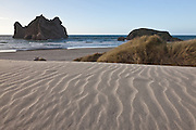 Sand dunes at Wharariki Beach, New Zealand