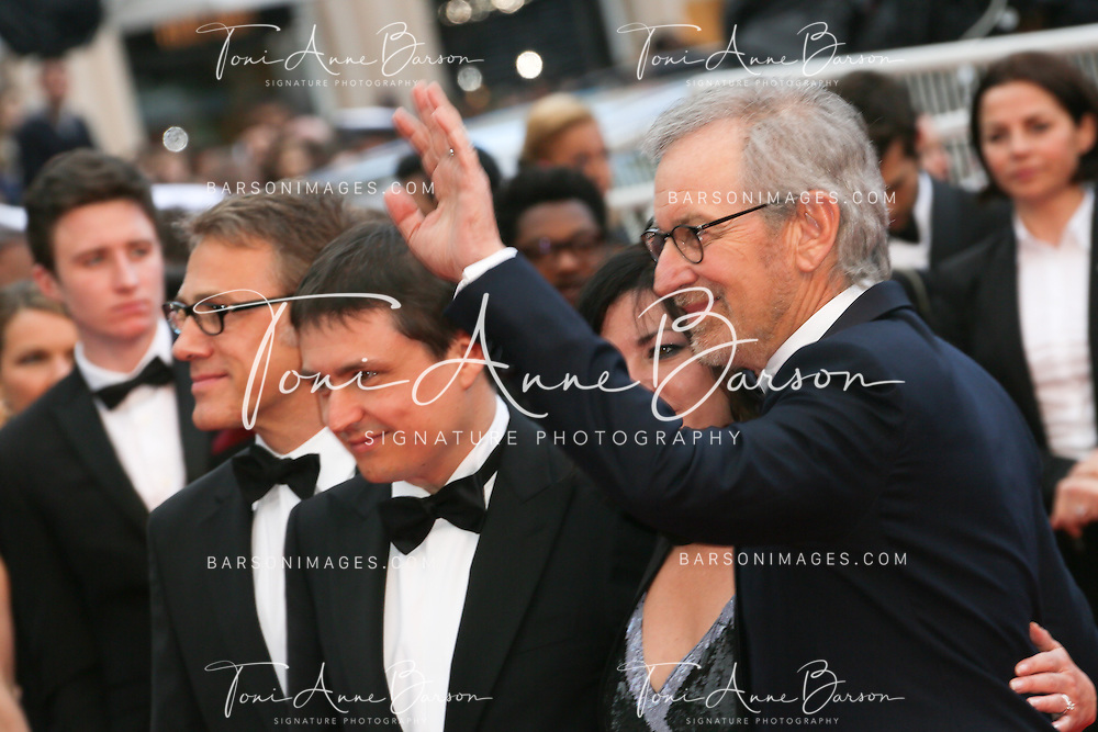 CANNES, FRANCE - MAY 19:  Christoph Waltz, Cristian Mungiu and Lynne Ramsay with jury president Steven Spielberg attend the Premiere of 'Inside Llewyn Davis' at The 66th Annual Cannes Film Festival on May 19, 2013 in Cannes, France.  (Photo by Tony Barson/FilmMagic)