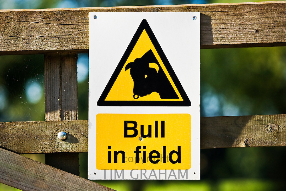 Warning sign of Bull in Field, Sellack, Herefordshire, England, United Kingdom