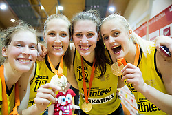 Alma Potocnik of Athlete Celje, Zala Lesek of Athlete Celje, Eva Lisec of Athlete Celje and Larisa Ocvirk of Athlete Celje celebrate after winning during basketball match between ZKK Athlete Celje and ZKK Triglav in Finals of 1. SKL for Women 2014/15, on April 20, 2015 in Gimnazija Celje Center, Celje, Slovenia. ZKK Athlete Celje became Slovenian National Champion 2015. Photo by Vid Ponikvar / Sportida