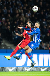 BERLIN, Dec. 9, 2018  Hertha's Vedad Ibisevic (R) vies for a header with Frankfurt's Carlos Salcedo during a German Bundesliga between Hertha BSC and Eintracht Frankfurt, in Berlin, Germany, on Dec. 8, 2018. Frankfurt lost 0-1. (Credit Image: © Kevin Voigt/Xinhua via ZUMA Wire)