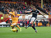 Motherwell's Allan Campbell can't stop Dundee's Tom Hateley getting in a shot - Motherwell v Dundee, Fir Park, Motherwell, Photo: David Young<br /> <br />  - © David Young - www.davidyoungphoto.co.uk - email: davidyoungphoto@gmail.com
