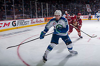 REGINA, SK - MAY 19: Andrew Fyten #26 of Swift Current Broncos skates to the corner after the puck against the Acadie-Bathurst Titan at the Brandt Centre on May 19, 2018 in Regina, Canada. (Photo by Marissa Baecker/CHL Images)