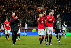 Manchester United Manager, Louis van Gaal celebrates after the match - Photo mandatory by-line: Matt McNulty/JMP - Mobile: 07966 386802 - 16/02/2015 - SPORT - Football - Preston - Deepdale - Preston North End v Manchester United - FA Cup - Fifth Round