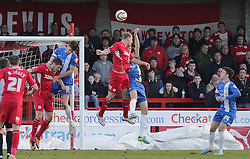 Peterborough United's Jack Baldwin handles the ball to give Crawley Town a late penalty - Photo mandatory by-line: Joe Dent/JMP - Tel: Mobile: 07966 386802 01/03/2014 - SPORT - FOOTBALL - Crawley - Broadfield Stadium - Crawley Town v Peterborough United - Sky Bet League One