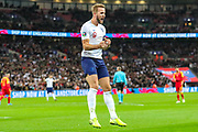 England forward Harry Kane scores a goal and celebrates 3-0 during the UEFA European 2020 Qualifier match between England and Montenegro at Wembley Stadium, London, England on 14 November 2019.