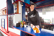 Leah Van Hook, co-owner and operator of the Bowpicker Fish and Chips in Astoria Oregon serves only one thing, line caught local albacore tuna fish and chips, and is widely regarded as the best fish and chips on the west coast.