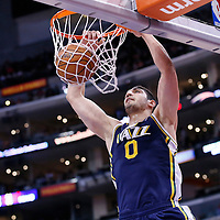 01 February 2014: Utah Jazz center Enes Kanter (0) dunks the ball during the Los Angeles Clippers 102-87 victory over the Utah Jazz at the Staples Center, Los Angeles, California, USA.