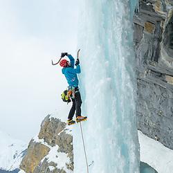 Pat Lindsay climbing Ice Nine, WI6, in Banff National Park, Alberta, Canada