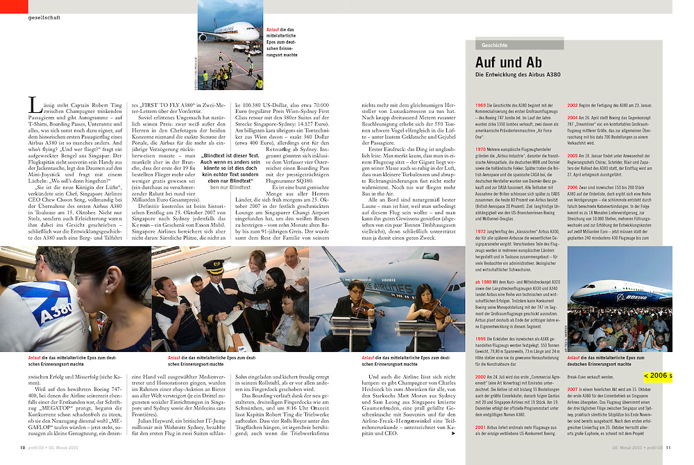 """TEARSHEET: """"SQ380 - The Airbus A380's first commercial flight"""" by Heimo Aga for profil."""