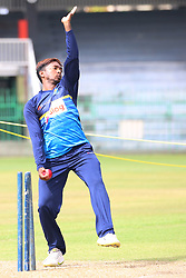 July 6, 2018 - Sri Lanka - Sri Lanka Right-arm off break bowler Akila Dananjaya Ball at a practice session at the R.Premadasa Stadium in Colombo on July 6, 2018. Sri Lanka and  South Africa will play two Tests, five 50-over One-Day Internationals (ODIs), and one T20 in Sri Lanka between July 12 and August 14. The first Test between South African and Sri Lanka will be played on July 12 at the Galle International Cricket Stadium in Galle. (Credit Image: © Lahiru Harshana/Pacific Press via ZUMA Wire)