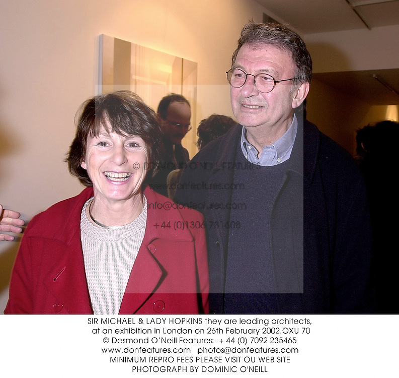 SIR MICHAEL & LADY HOPKINS they are leading architects, at an exhibition in London on 26th February 2002.OXU 70