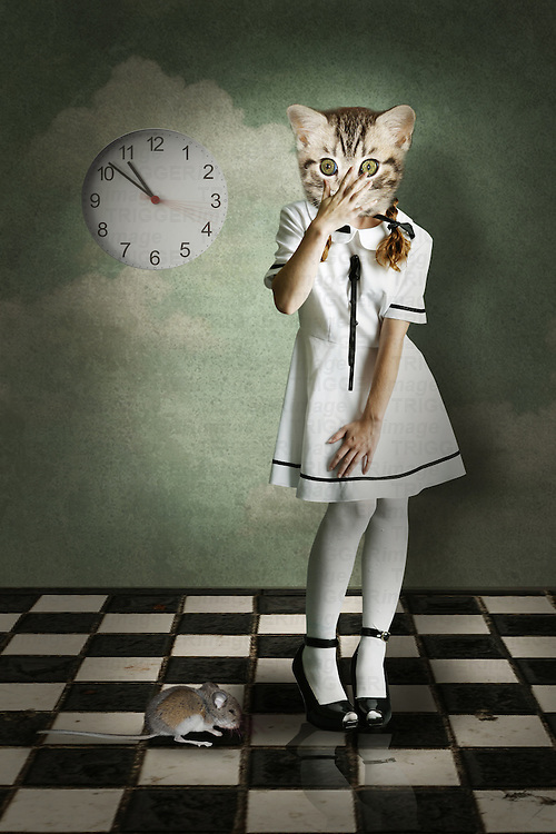 surreal kitten dressed as a human witha mouse and a clock