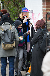 Transexual Tara Wolf, 26, from Stratford, outside Hendon Magistrate's Court in London where she is defending charges of assaulting 61yo Maria MacLachan when a brawl broke out between feminists and transgender activists at Speakers' Corner. London, April 13 2018.
