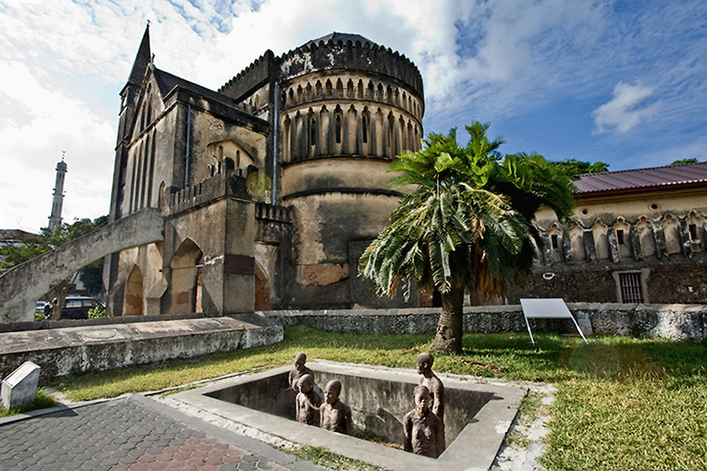 Stonetown Anglican Cathedral of Christ, built 1873-83, with adjoining memorial to the slaves.  The church was built on the site of the Stonetown slave market.