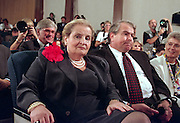U.S Secretary of State Madeleine Albright and National Security Advisor Sandy Berger attend a joint press conference with President Bill Clinton and Czech President Vaclav Havel at the White House September 16, 1998 in Washington, DC.