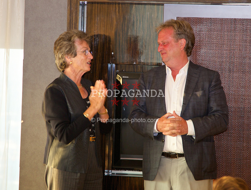 LIVERPOOL, ENGLAND - Saturday, June 21, 2014: Virginia Wade and David Pinchin at a players' dinner during Day Three of the Liverpool Hope University International Tennis Tournament at the West Tower. (Pic by David Rawcliffe/Propaganda)