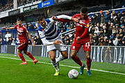 Marvin Johnson (21) of Middlesbrough battles for possession during the EFL Sky Bet Championship match between Queens Park Rangers and Middlesbrough at the Kiyan Prince Foundation Stadium, London, England on 9 November 2019.