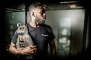 LONDON, ENGLAND, AUGUST 2, 2013: UFC light-heavyweight champion Jon Jones poses for a portrait inside Stars Gym in Battersea, London on Friday, August 2, 2013 © Martin McNeil