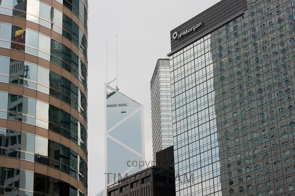 Hong Kong Financial District, The Stock Exchange, Bank of China, JP Morgan, China