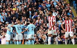 Fernandinho of Manchester City celebrates after scoring his sides fifth goal - Mandatory by-line: Matt McNulty/JMP - 14/10/2017 - FOOTBALL - Etihad Stadium - Manchester, England - Manchester City v Stoke City - Premier League