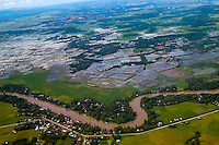 Indonesia, Sulawesi, Makassar. A river close to Makassar's airport, seen from airplane.