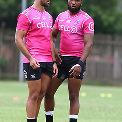 Kobus van Wyk with Lukhanyo Am during the cell c sharks training session at  Growthpoint Kings Park 13,02,2018 Photo by Steve Haag)