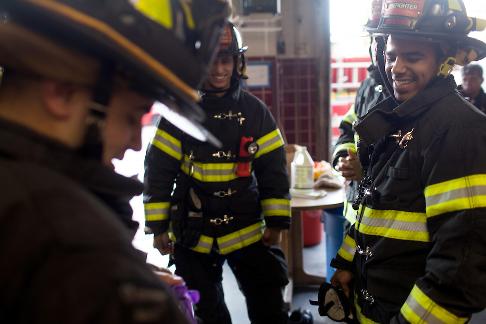 Probationary Fire fighters and veterans Kamil Mizinski, left, AJ Maresca, center, Andres Godoy (hidden) and Victor Ramos, right, at the 16th Street Fire House of the North Hudson Regional Fire and Rescue in Union City, NJ on November 07, 2013. Many vets say after the military they're still looking for a career with a sense of public service. Some vets have found that at the North Hudson Regional Fire and Rescue in New Jersey.