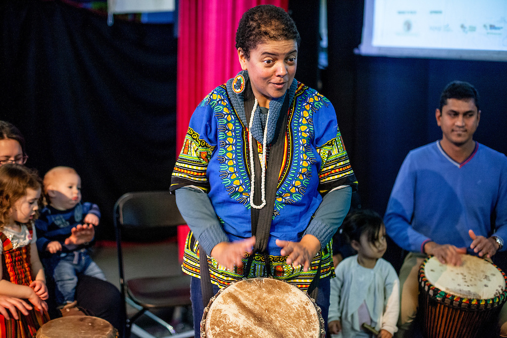 Drumming workshop by Drumsong to learn African rhythms in a playful and participatory way during The Royal African Society's Annual Film Festival 2016 at Rich Mix. London, Saturday 5 November 2016. (Photos/Ivan Gonzalez)