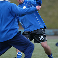 St Johnstone Training...03.03.03   Peter MacDonald takes on Paddy Connolly during training this morning before facing Ayr tomorrow night.<br />