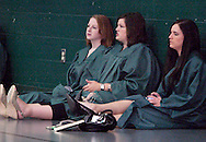 (from left) Molly McGee, Amber Walter and Kelli Swanton chat and relax backstage before Wright State University's 43rd Semiannual Commencement at the Nutter Center, Saturday, June 12, 2010.