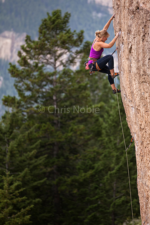 "Professional climber Emily Harrington climbing ""Number One Enemy"" rated 11A, ""Slavery Crag"" Ten Sleep Canyon Wyoming."