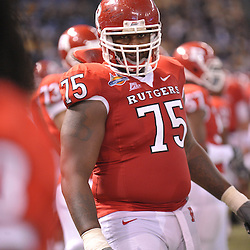 Dec 19, 2009; St. Petersburg, Fla., USA; Rutgers offensive lineman Anthony Davis (75) gets ready for the second half of Rutgers' 45-24 victory over Central Florida in the St. Petersburg Bowl at Tropicana Field.