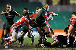 Neil Briggs of Leicester Tigers takes on the Gloucester defence - Photo mandatory by-line: Patrick Khachfe/JMP - Mobile: 07966 386802 13/02/2015 - SPORT - RUGBY UNION - Leicester - Welford Road - Leicester Tigers v Gloucester Rugby - Aviva Premiership