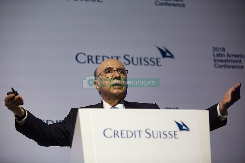 January 30, 2018 - Sao Paulo, Sao Paulo, Brazil - HENRIQUE MEIRELLES, Brazilian Finance Minister, takes part in the takes part in the 5th Latin America Investment Conference (LAIC), promoted by Credit Suisse, at the Grand Hyatt Hotel in Sao Paulo, Brazil. The conference brings together politicians, businessmen, economists and financiers who discuss the economic prospects of the region and the world. Over 100 corporations listed on Latin America's largest stock exchanges also participate in the event. (Credit Image: © Paulo Lopes via ZUMA Wire)