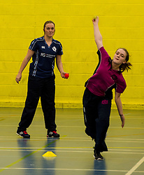 Pictured: Abbi Aitken (Montrose and Scotland) coaches junior members of the Fettes College ladies cricket team.<br /> Aileen Campbell MSP (Minister for Public Health and Sport) joined Abbi Aitken (Scotland captain) Steve Knox (Scotland women's coach), Nicola Wilson (CS women's participation manager) and Oli Rae (opener for Edinburgh and Scotland) today at Edinburgh' Fettes College to promote women's cricket ahead of the national team's trip to Sri Lanka for the ICC Women's World Cup Qualifier (in Sri Lanka) on 29 January. <br /> Ger Harley | EEm 24 January 2017