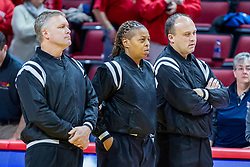 NORMAL, IL - November 30: Andrew Bills, LaSha Hopson, Steve Matuszewski during a college women's basketball game between the ISU Redbirds and the Skyhawks of UT-Martin November 30 2019 at Redbird Arena in Normal, IL. (Photo by Alan Look)