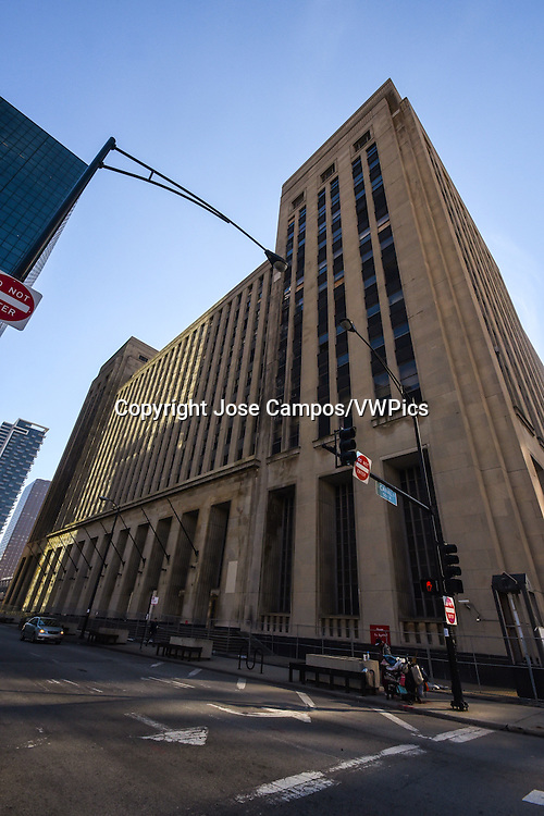 The Old Chicago Main Post Office is a nine-story-tall building in Chicago that was once the world's largest building. The original building was designed by Graham, Anderson, Probst & White and built in 1921, but it was expanded greatly in 1932.