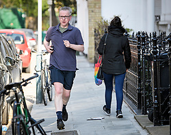 © Licensed to London News Pictures. 11/04/2019. London, UK. Secretary of State for Environment, Food and Rural Affairs MICHAEL GOVE is seen going for a run at his London home. British Prime Minister Theresa May was last night granted an extension to the date the UK will leave the EU, until October 31st of this year. Photo credit: Ben Cawthra/LNP