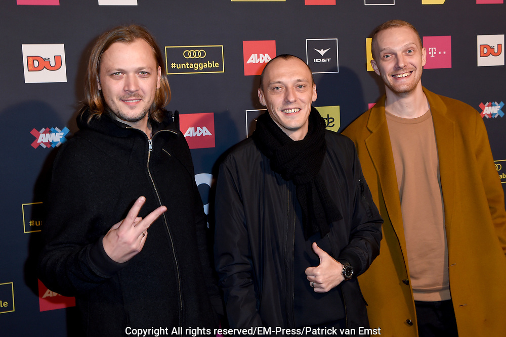 AMF Red Carpet Top 100 DJs Award Show in the Heineken Music Hall.<br /> <br /> On the photo:  Swanky Tunes ( Vadim Shpak, Dmitry Burykin and Stanislav Zaytsev )