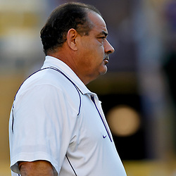 October 16, 2010; Baton Rouge, LA, USA; LSU Tigers defensive coordinator John Chavis during warm ups prior to kickoff against the McNeese State Cowboys at Tiger Stadium. LSU defeated McNeese State 32-10. Mandatory Credit: Derick E. Hingle